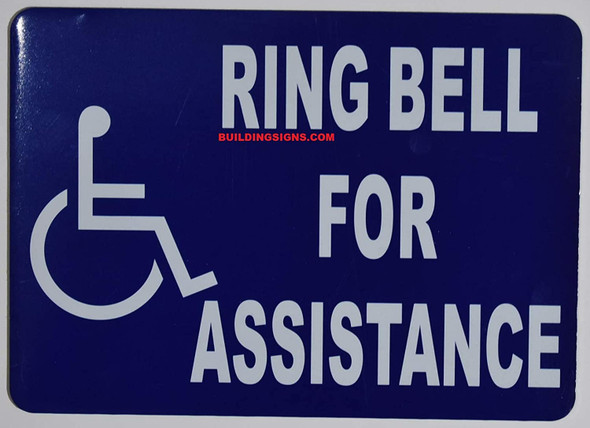 ADA-Ring Bell for Assistance with Symbol Sign -The Pour Tous Blue LINE -Tactile Signs  Ada sign