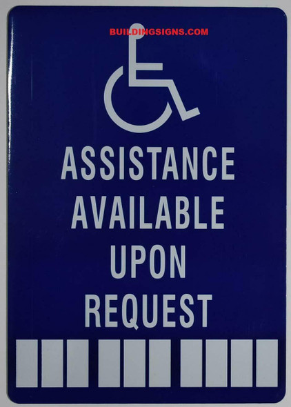 ADA-Assistance Available Upon Request Number Sign -The Pour Tous Blue LINE -Tactile Signs  Ada sign