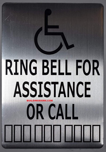 ADA-Ring Bell for Assistance OR Call with Symbol Sign -The Pour Tous Blue LINE -Tactile Signs  Ada sign