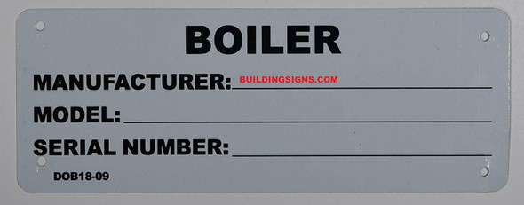 Boiler Registration Number Sign (3, Aluminum Sign