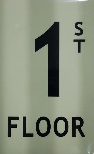 """Floor number 1 Sign/ GLOW IN THE DARK """"FLOOR NUMBER"""" Sign"""