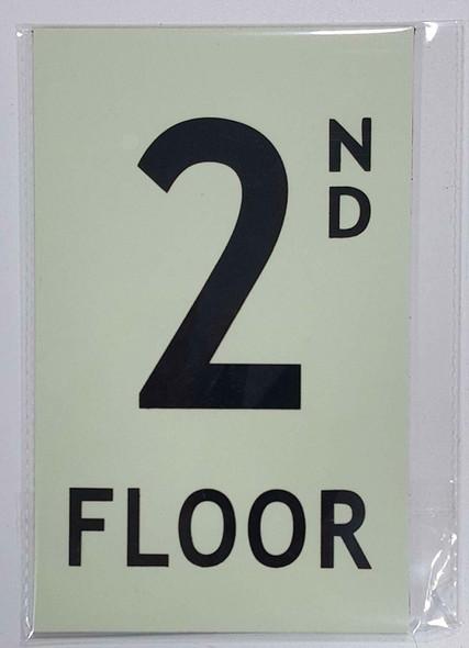 Floor number 2 Sign HEAVY DUTY / GLOW IN THE DARK