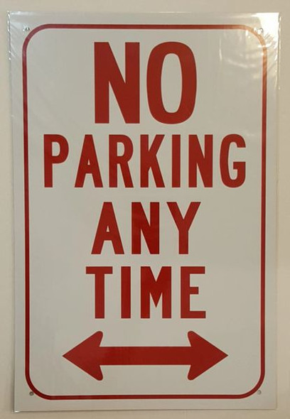 NO PARKING ANY TIME WITH DOUBLE ARROW Sign