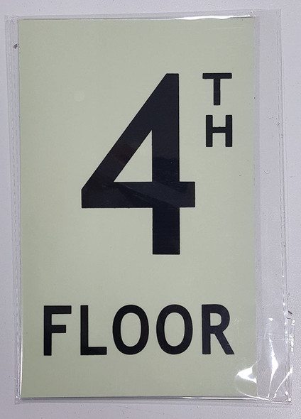 "Floor number 4 Sign HEAVY DUTY / GLOW IN THE DARK ""FLOOR"