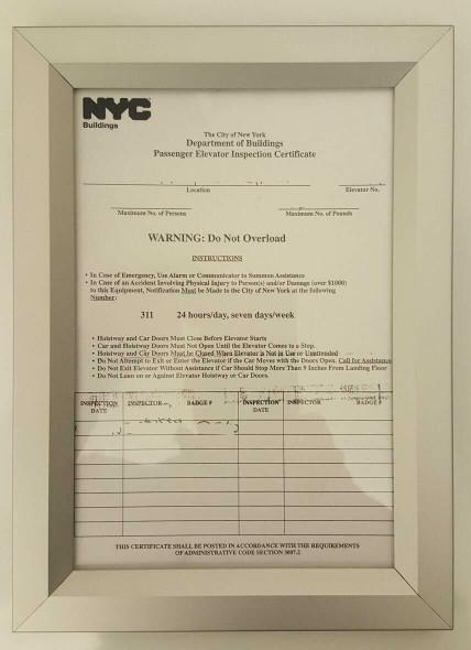 Elevator Permit Frame  (Heavy Duty Frame- Aluminum)
