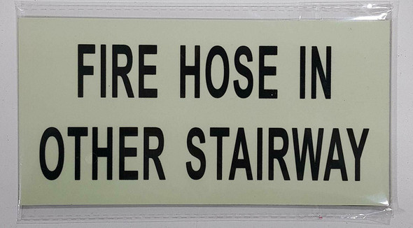 "FIRE HOSE IN OTHER STAIRWAY HEAVY DUTY / GLOW IN THE DARK ""BASEMENT"" Sign"