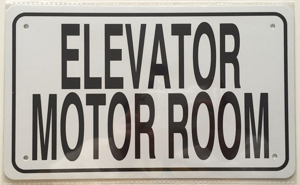white Elevator Motor room sign