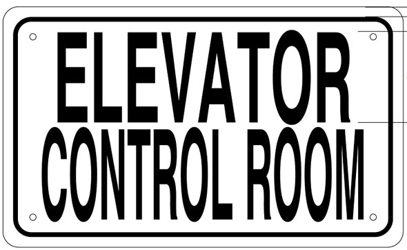 ELEVATOR CONTROL ROOM SIGN (White Aluminium rust free)
