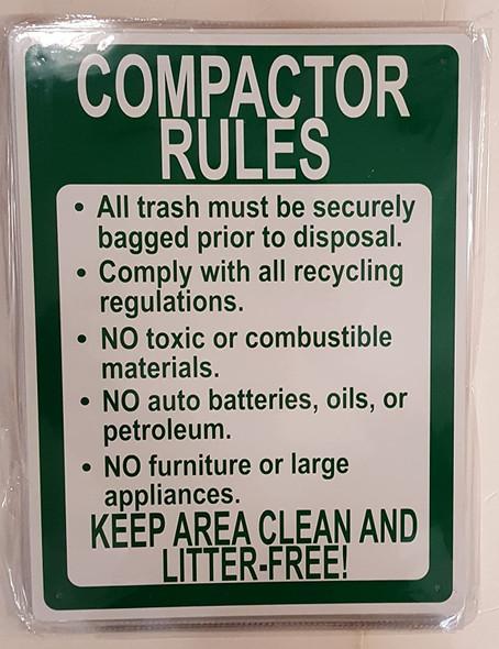COMPACTOR RULES SIGN ( Aluminium -RUST FREE )