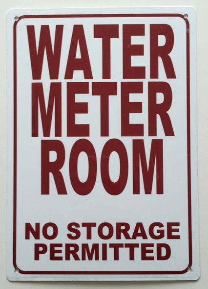 WATER METER ROOM- NO STORAGE PERMITTED SIGN (WHITE  ALUMINIUM )