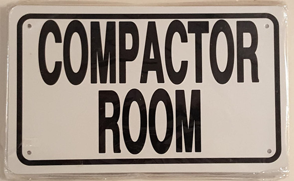 Compactor Room Sign White
