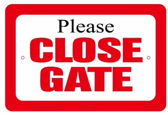 Please Close Gate sign