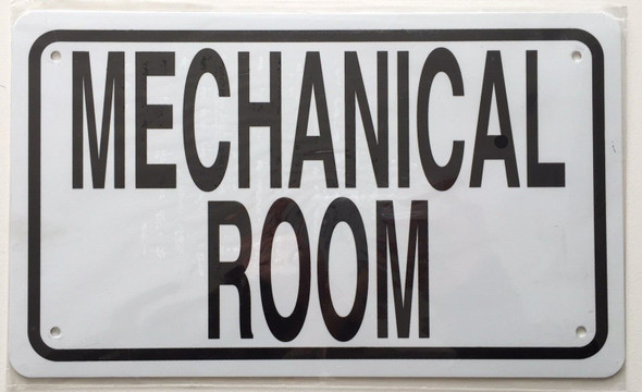 Mechanical Room Sign (White Aluminium Rust Free)