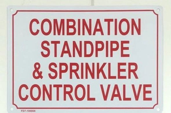Combination Standpipe and Sprinkler Sign
