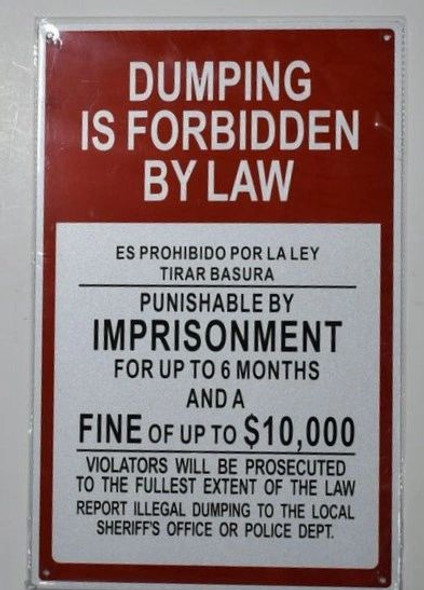 Dumping Is Forbidden By Law