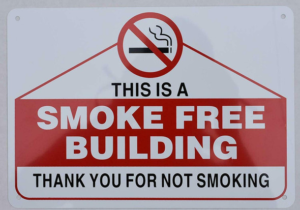 This is Smoke Free Building Sign (Aluminium, )