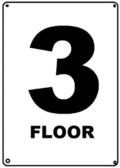 Floor number 3 sign
