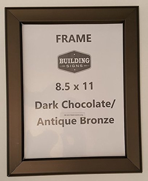 DARK CHOCOLATE / ANTIQUE BRONZE Snap Frame es Front Loading Quick Poster Change, Wall Mounted, HEAVY DUTY