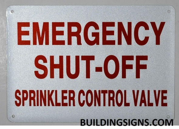 Emergency Shut-Off, Sprinkler Control Valve Sign