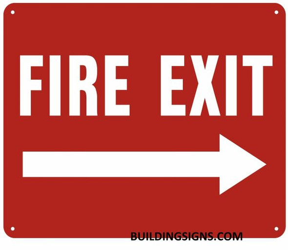 FIRE EXIT Arrow Right Sign