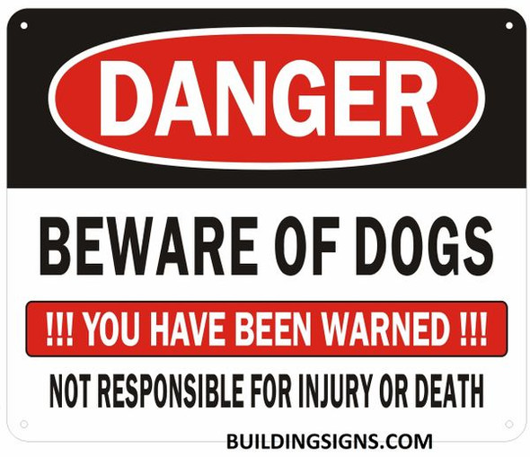 Danger Beware of Dog You Have Been Warned Sign