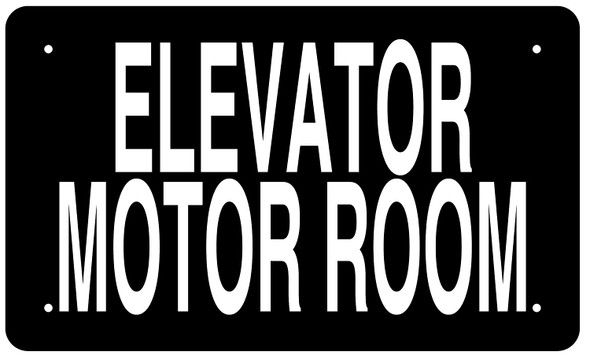 ELEVATOR MOTOR ROOM SIGN (BLACK Aluminium rust free)