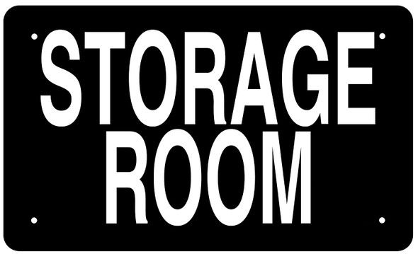 STORAGE ROOM SIGN -BLACK BACKGROUND (ALUMINIUM )