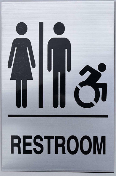 Unisex Restroom - Sign.  -Tactile Signs Ada sign