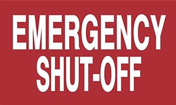 Emergency Shut-Off Sign Two Sided Tape,