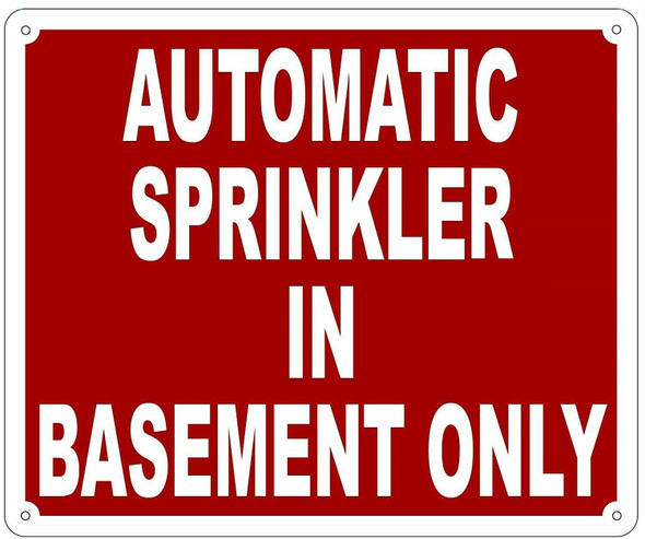 AUTOMATIC SPRINKLER IN BASEMENT ONLY SIGN