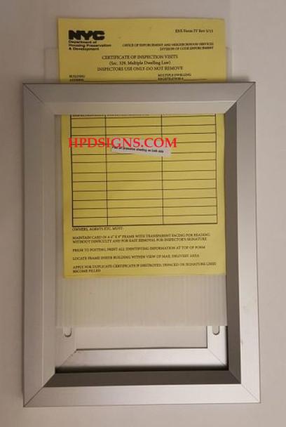 HPD  certificate of inspection visits FRAME