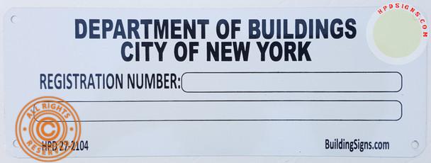HPD Building registration number sign