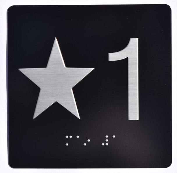 Star 1 - Elevator Jamb Plate  with Braille and Raised Number-Elevator Floor Number Ada Sign