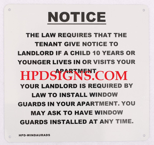 WINDOW GUARDS INSTALLED NOTICE