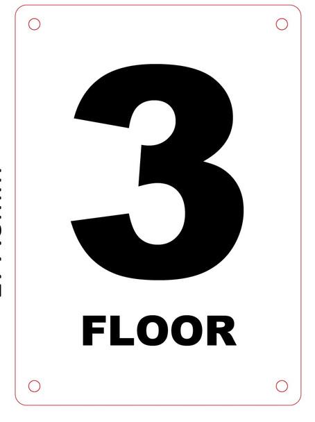 HPD NYC FLOOR NUMBER 3 SIGN - 3RD FLOOR SIGN