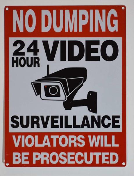 NO Dumping 24 Hours Video Surveillance  (Rust Free, Aluminium)