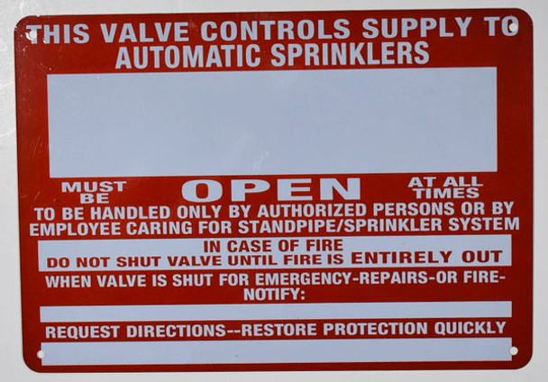 This Valve Control Supply to Automatic Sprinkler Sign