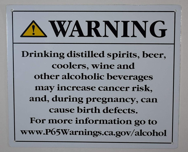 California Prop 65 Alcohol Warning Sign  Rust