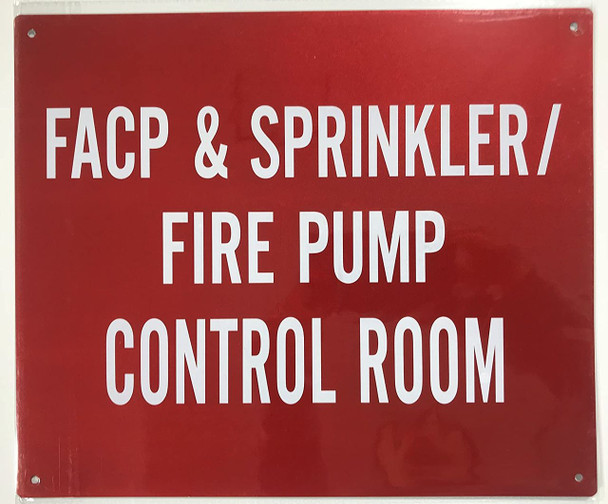 Sprinkler FIRE Pump Control Room Sign- RED -