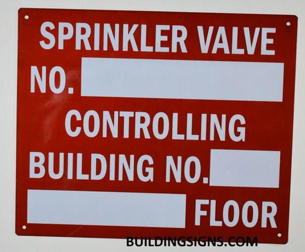 Sprinkler Valve Number Controlling Building Sign RED