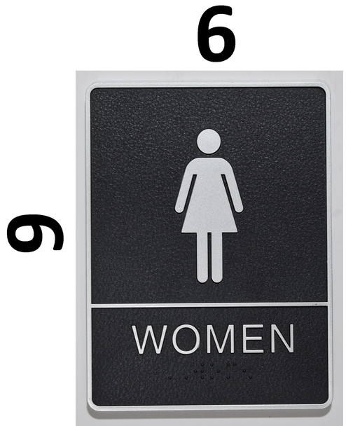 Restrooms Sign- BLACK- BRAILLE - The Leather Sheffield ADA line Ada Sign