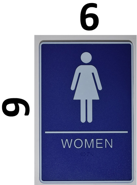 WOMEN ACCESSIBLE Restroom Sign- BLUE- BRAILLE - The deep Blue ADA line Ada Sign