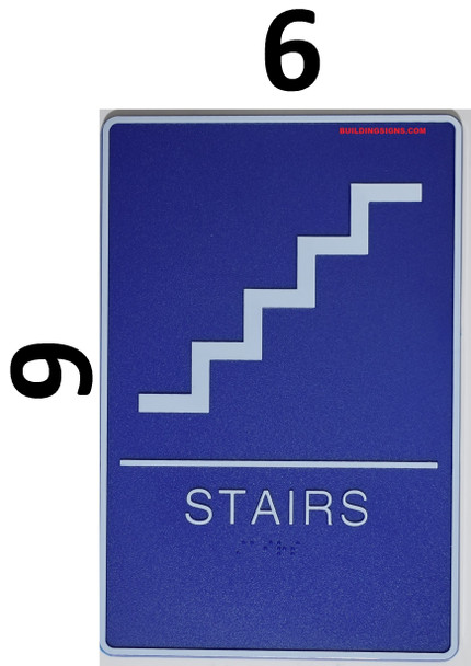 STAIRS Sign- BLUE- BRAILLE - The deep Blue ADA line Ada Sign