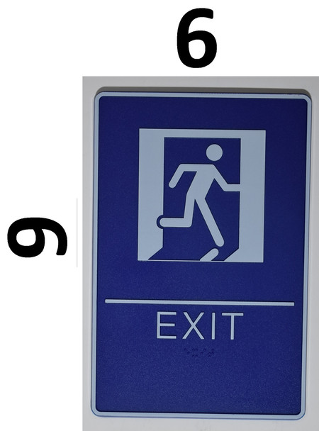 EXIT Sign- BLUE- BRAILLE - The deep Blue ADA line Ada Sign