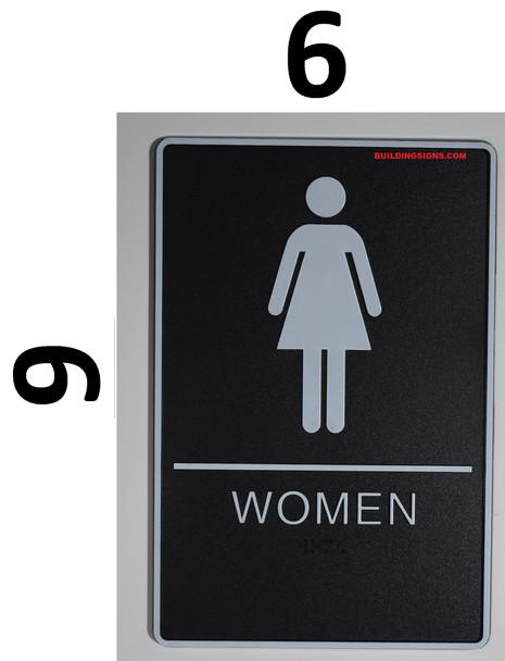 MEN Restroom Sign- BLACK- BRAILLE - The Standard ADA line Ada Sign