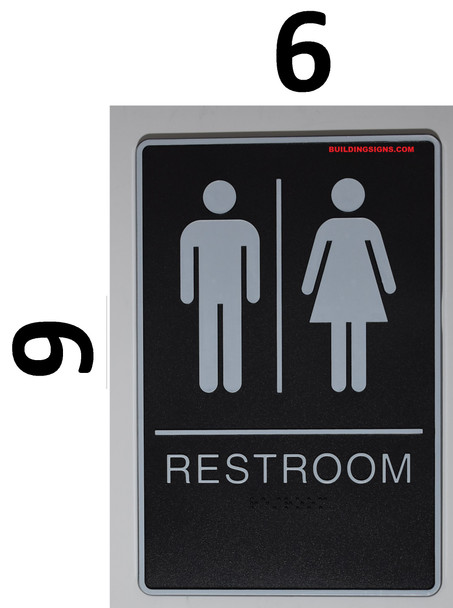 WOMEN ACCESSIBLE Restroom Sign- BLACK- BRAILLE - The Standard ADA line Ada Sign