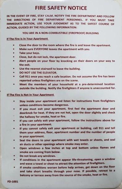 Door fire Notice Sign/Hotel fire Door Sign, Dorms fire Door Sign