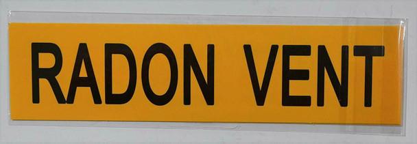 Pipe Marking- Radon Vent (Sticker Yellow)
