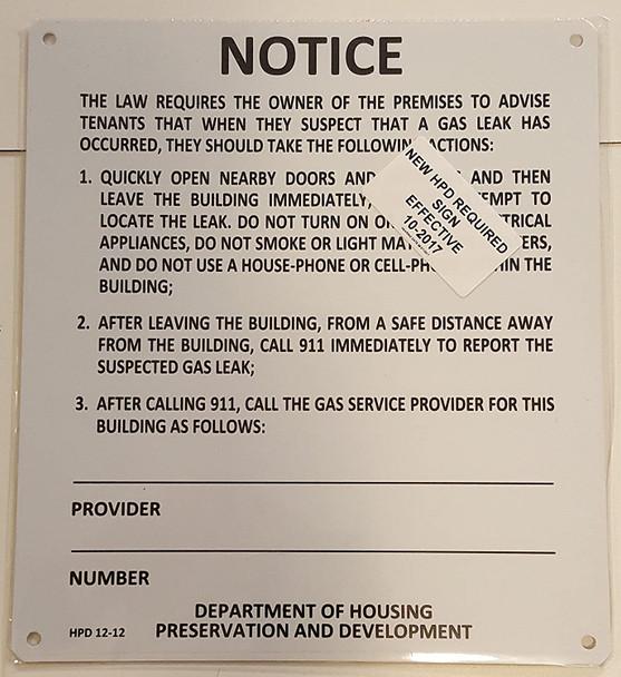GAS LEAK NOTICE