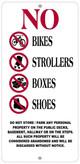 No Storage in hallway sign